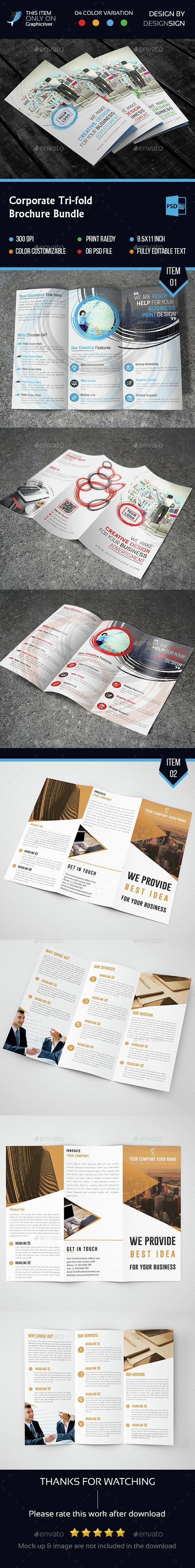 Corporate Tri Fold Bundle.  - Brochures Print Templates