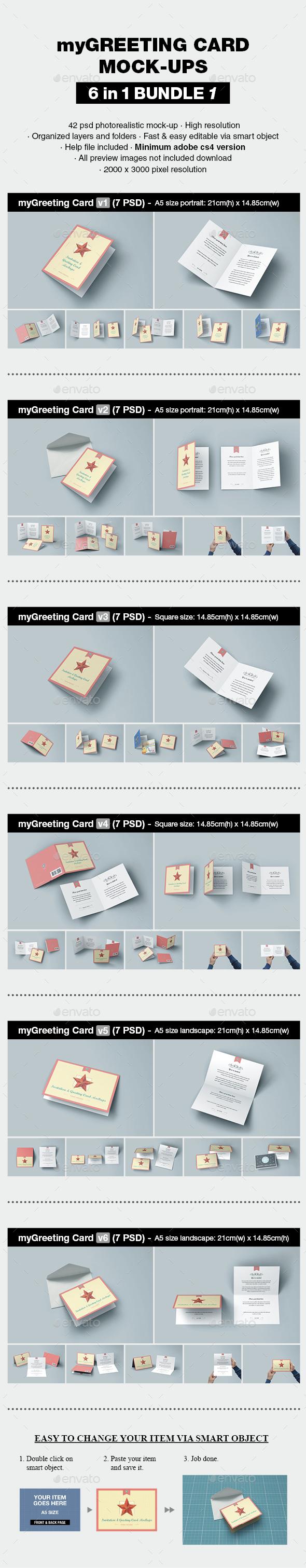 myGreeting Card Mock-up Bundle 1 - Print Product Mock-Ups