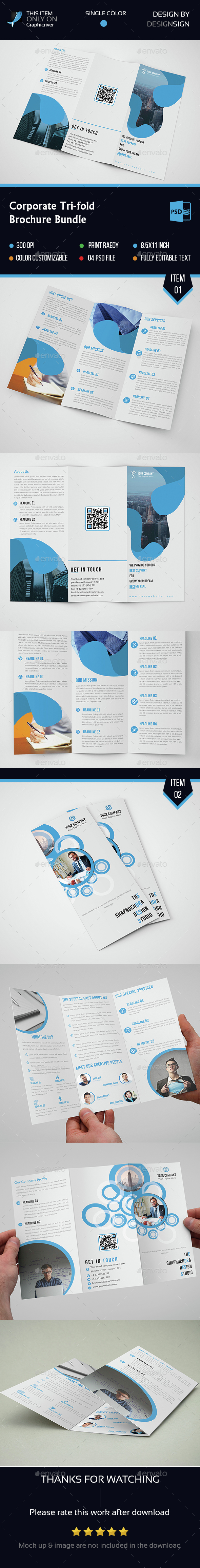 Corporate Tri Fold Bundle - Brochures Print Templates
