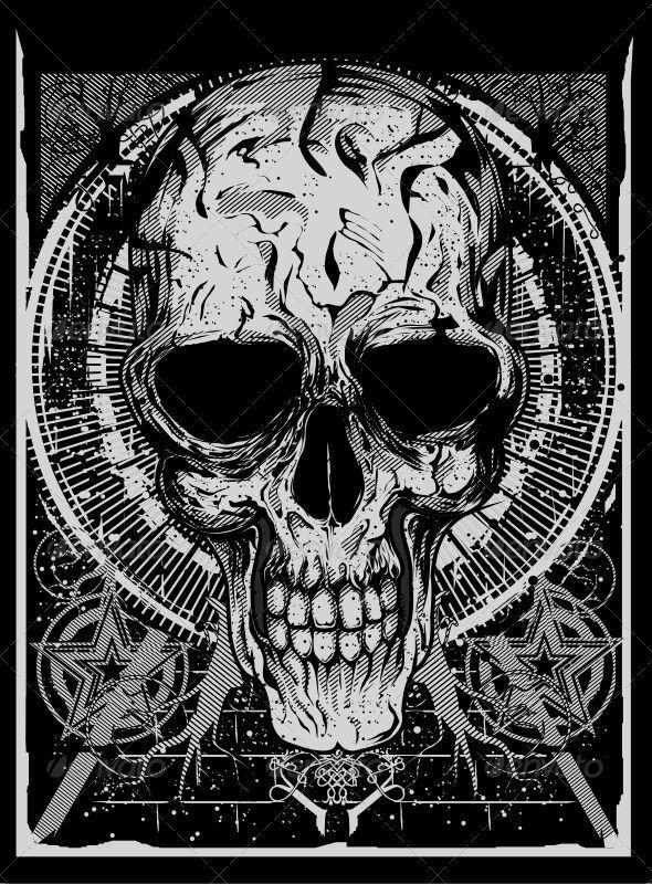 Grunge Skull - Characters Vectors