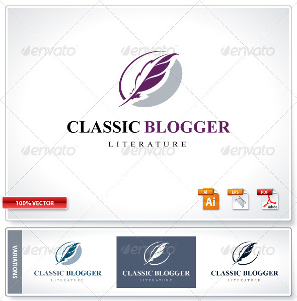 Classic Literature Blog logo template - Logo Templates