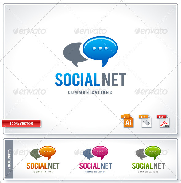 Social ?ommunication logo template - Objects Logo Templates