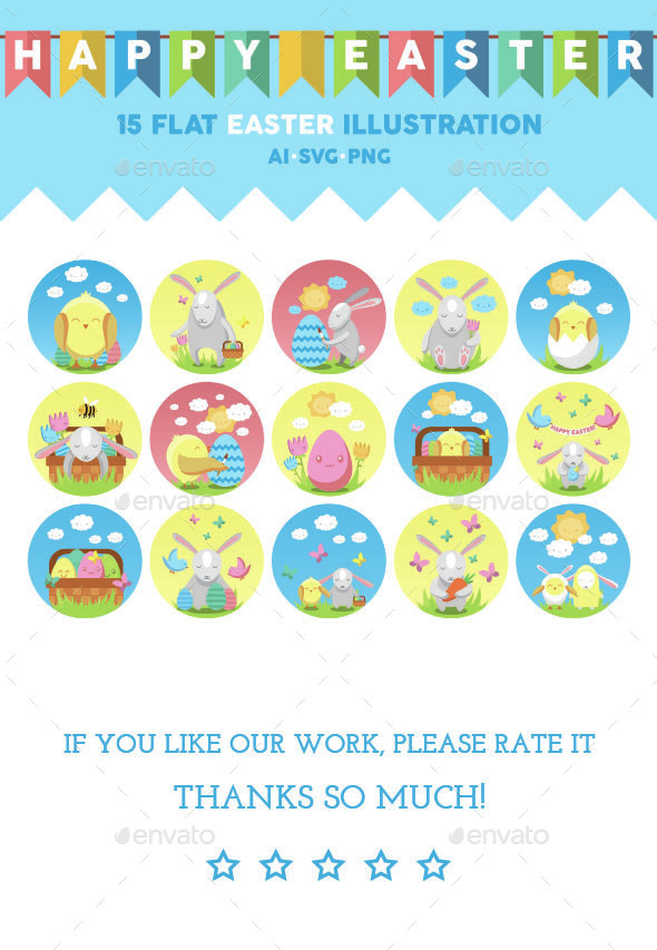 Easter Flat Icons - Animals Characters
