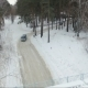 Flying Over The Car In The Woods. Car Under The Bridge. Winter Forest Road - VideoHive Item for Sale