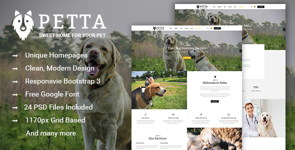 Petta – Premium Pet Care PSD Template
