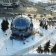 Flying Over The Small City Park In Winter - Spherical Building - VideoHive Item for Sale