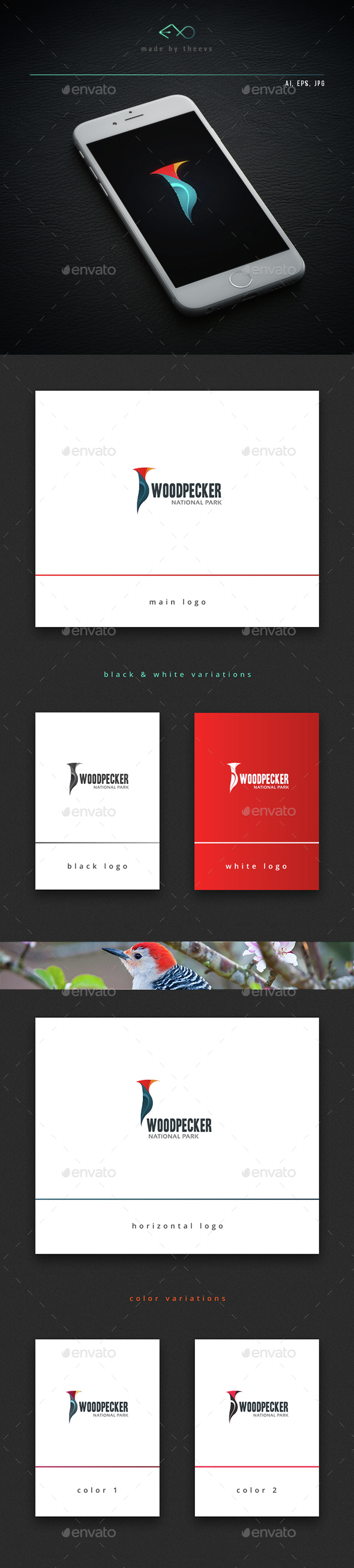 Woodpecker - Animals Logo Templates