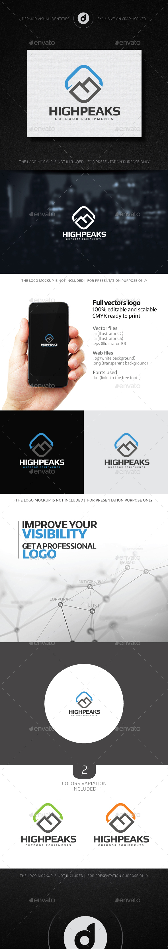 High Peaks Logo - Nature Logo Templates
