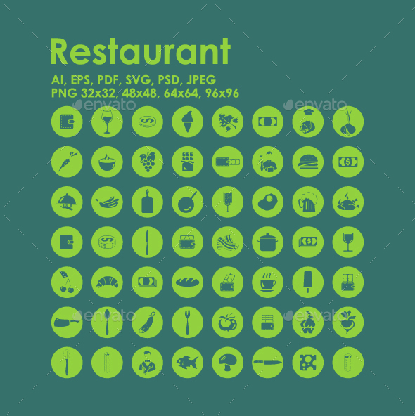56 Restaurant icons - Food Objects