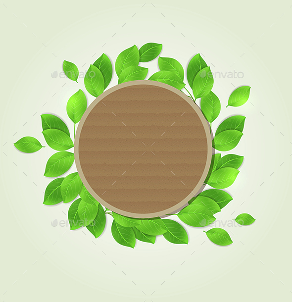 Round Label with Green Leaves - Backgrounds Decorative