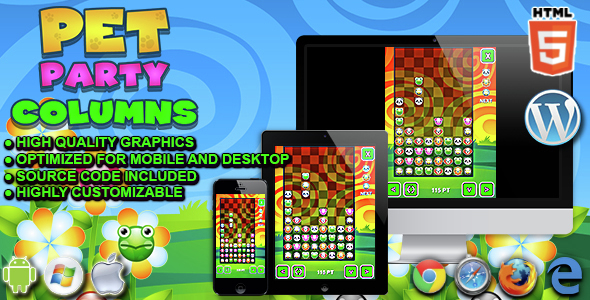 Pet Party Columns - HTML5 Matching Game - CodeCanyon Item for Sale