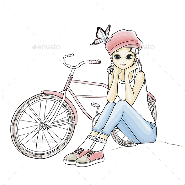 Girl with a Bicycle - People Characters