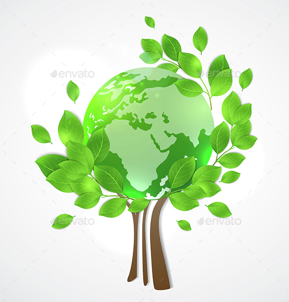 Planet Earth and Green Tree - Landscapes Nature