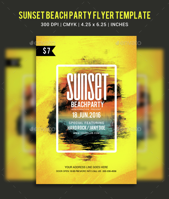 Sunset Beach Party Flyer Template - Clubs & Parties Events