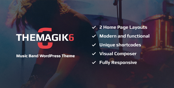 TheMagic6 – Music Band or Musician WordPress Theme