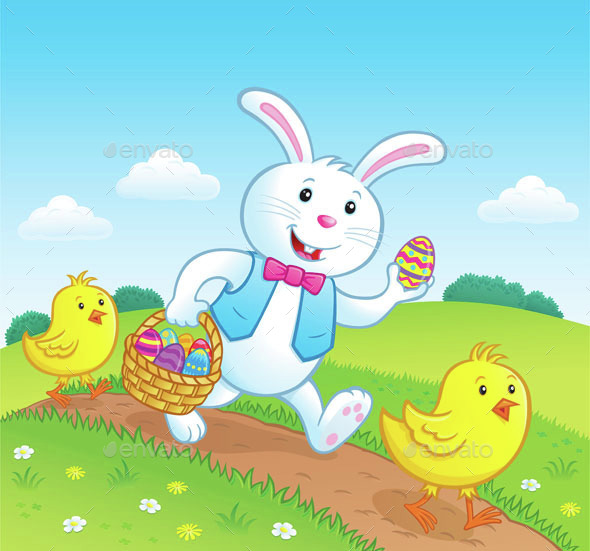 Easter Bunny on Trail with Baby Chicks - Miscellaneous Seasons/Holidays
