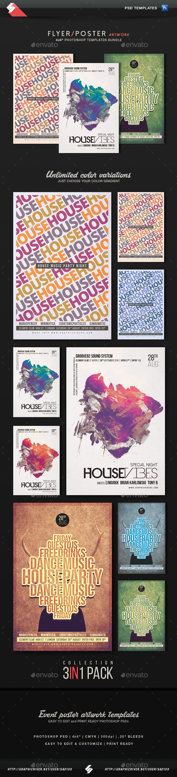House Music - House Party Flyer Templates Bundle  - Clubs & Parties Events