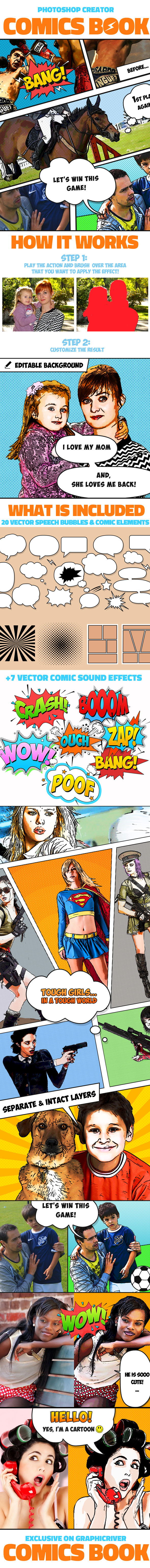 Comics Book Photoshop Creator - Photo Effects Actions