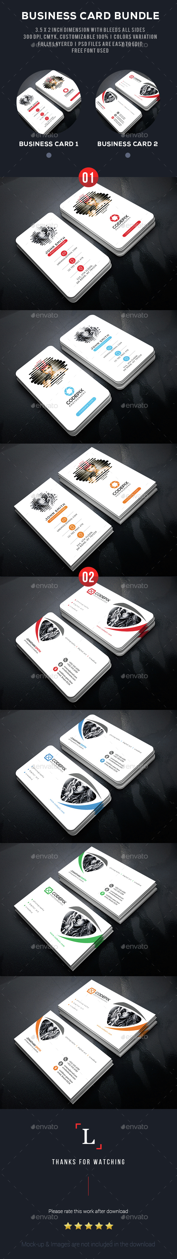 Clean Photography Business Card Bundle - Business Cards Print Templates