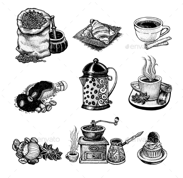 Vintage Coffee Set - Decorative Symbols Decorative