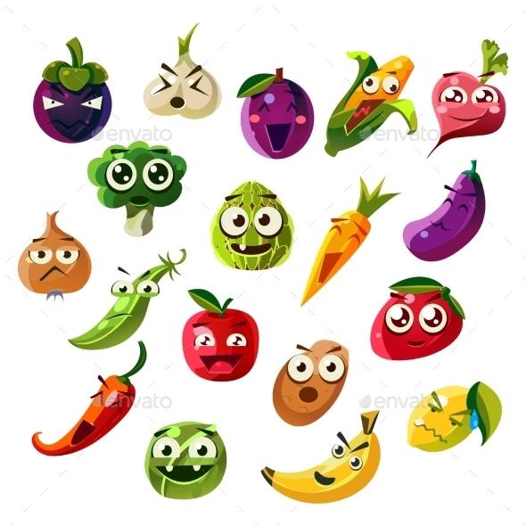 Fruit Ands Vegetable Emoji Set - Food Objects