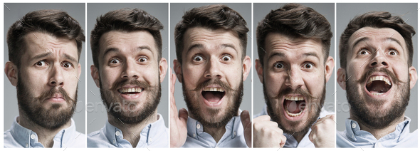 Collage of happy and surprised emotions - Stock Photo - Images