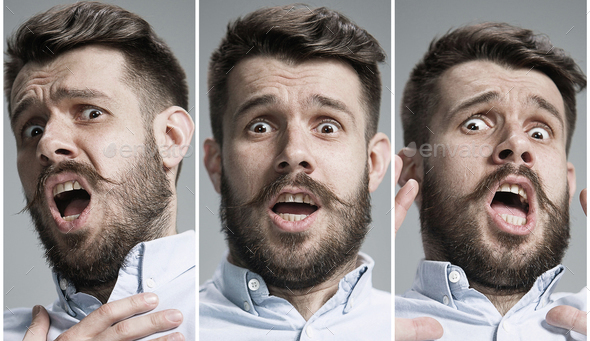 Collage of frightened emotions - Stock Photo - Images