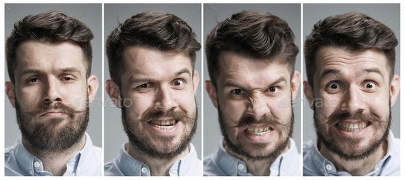 Collage of angry emotions - Stock Photo - Images