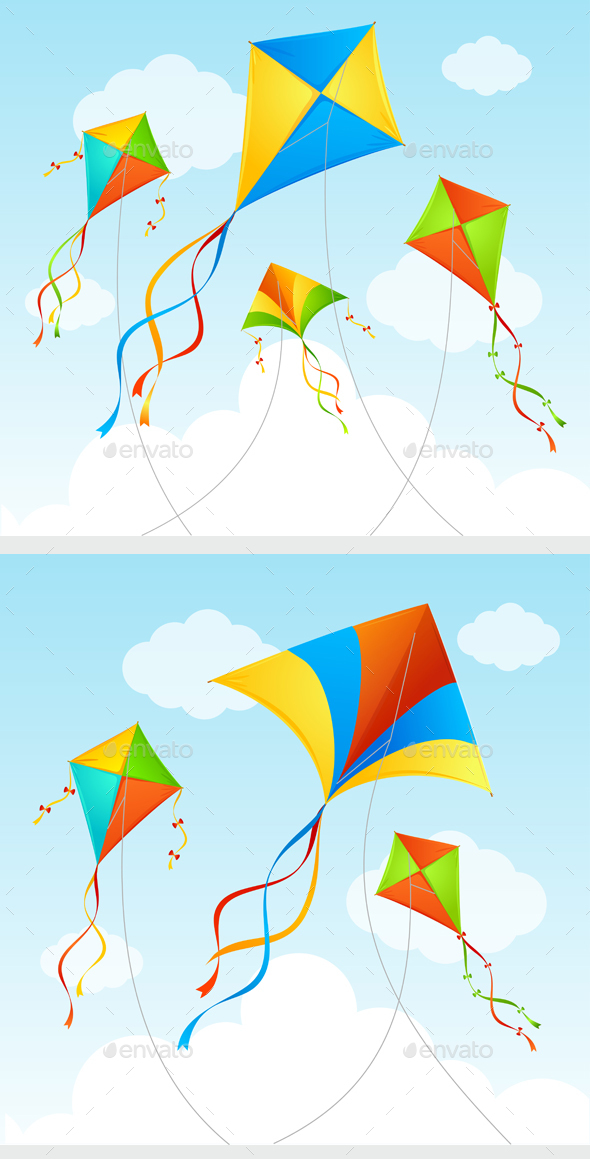 Fly Kite Summer Background - Backgrounds Decorative