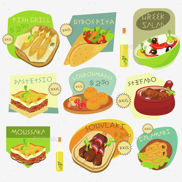 Greek Food Labels Set - Food Objects