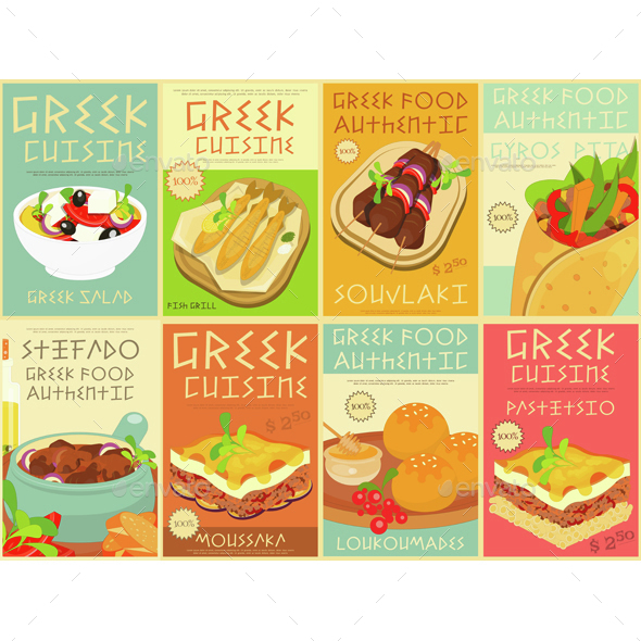 Greek Food Posters Set - Food Objects