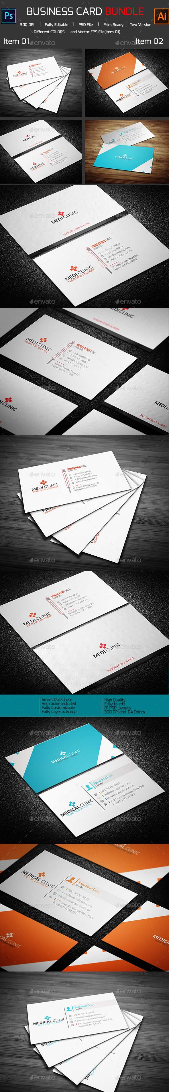 Bundle_10 Medical Business Card(2 in 1) - Corporate Business Cards
