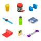 Isometric Gym and Fitness Icon Set - GraphicRiver Item for Sale