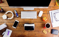 Desk with various gadgets and office supplies. Flat lay - PhotoDune Item for Sale