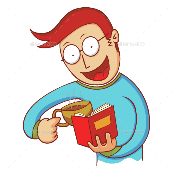Man with Coffee and Book - People Characters