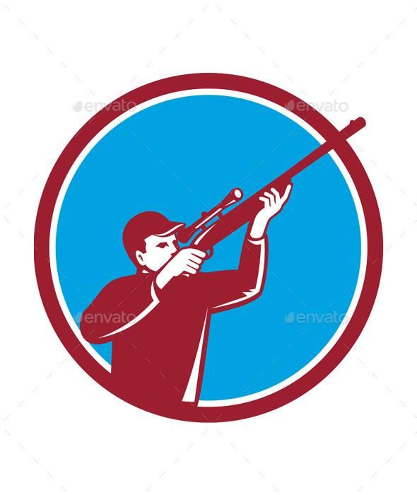 Hunter Shooting Up Rifle Circle Retro - Sports/Activity Conceptual