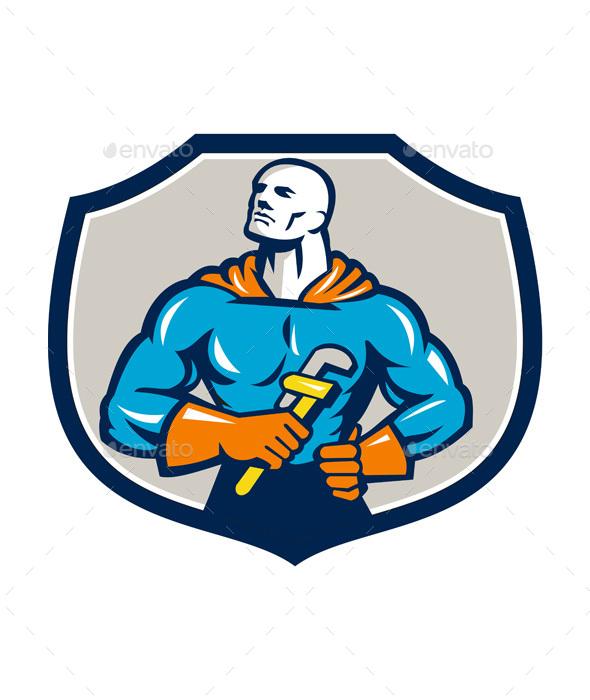 Plumber Superhero Monkey Wrench Crest Retro - People Characters