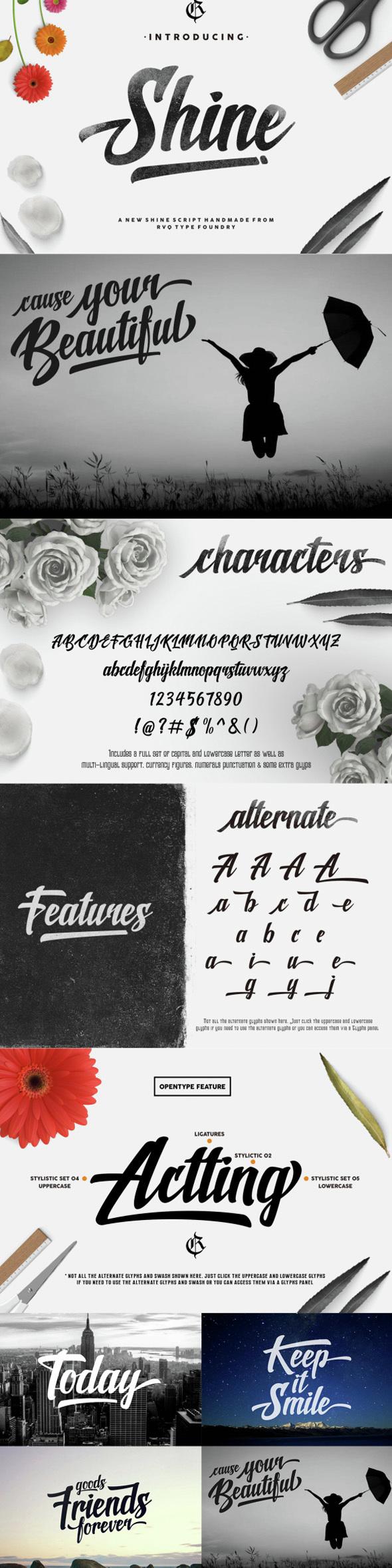 New shine script - Script Fonts