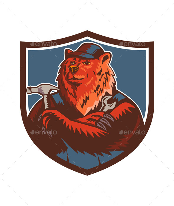 Russian Bear Builder Handyman Crest Woodcut - Animals Characters
