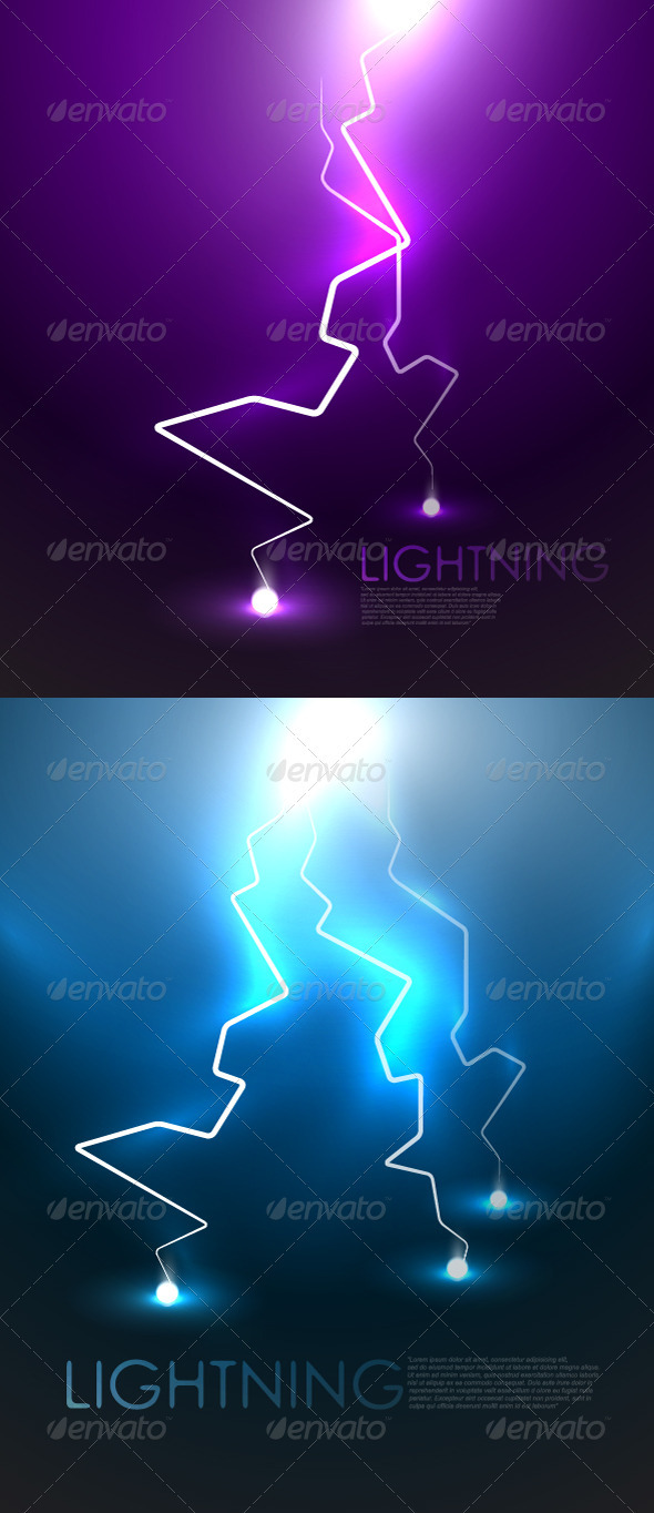 Vector lightning backgrounds - Landscapes Nature
