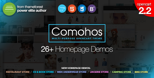 Comohos – Multipurpose Responsive Premium OpenCart 2.2 Theme with 28+ Unique Designs