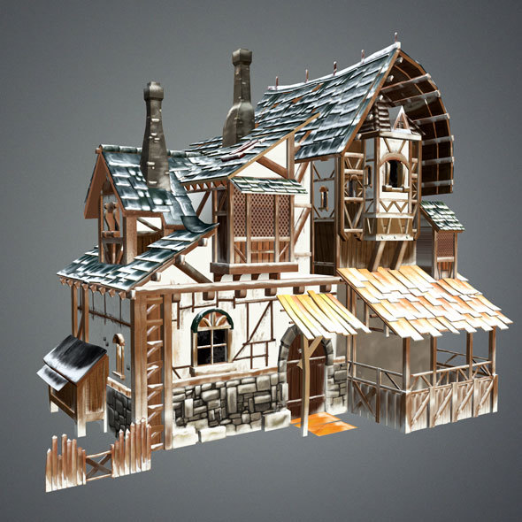 Snow Medieval House - 3DOcean Item for Sale