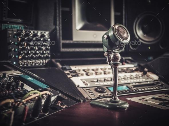 Close-up of boutique recording studio control desk. - Stock Photo - Images