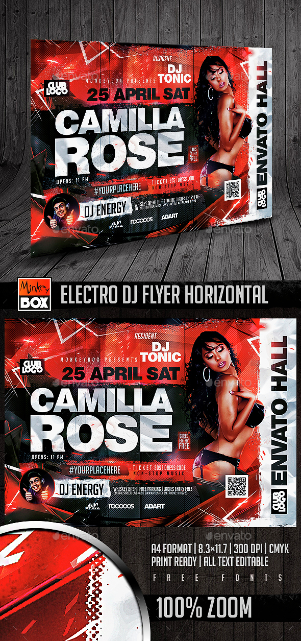 Electro Dj Flyer Horizontal - Flyers Print Templates