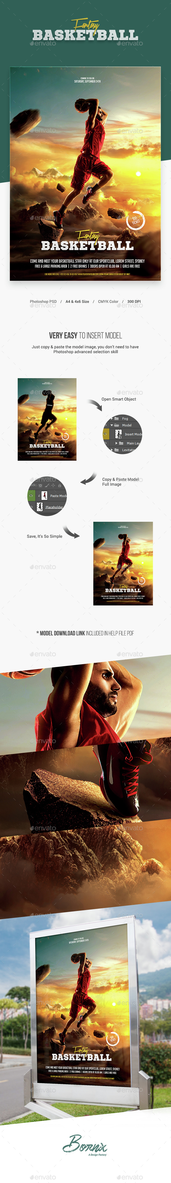 Fantasy Basketball Flyer Template - Sports Events