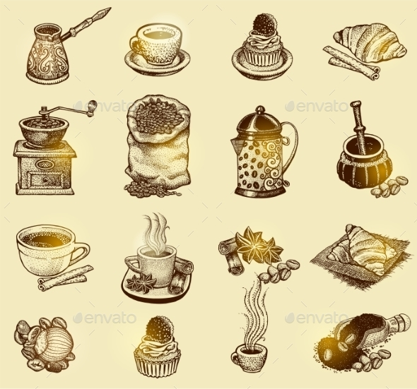 Vintage Coffee Set - Decorative Symbols Decorative