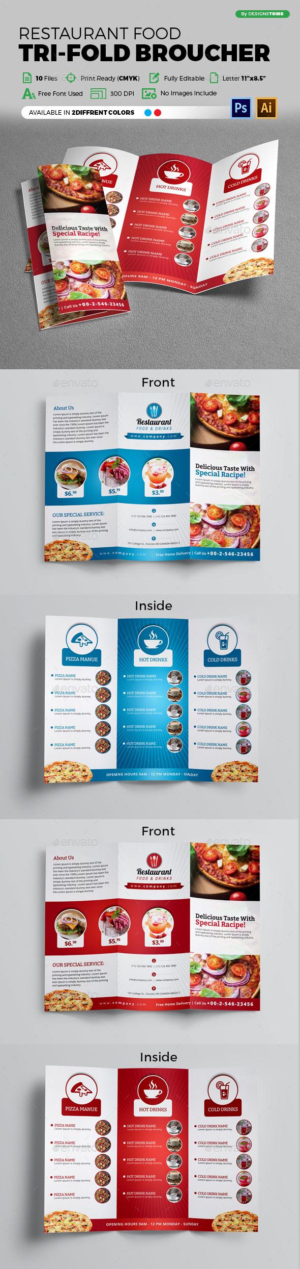 Restaurant Trifold Brochure - Brochures Print Templates
