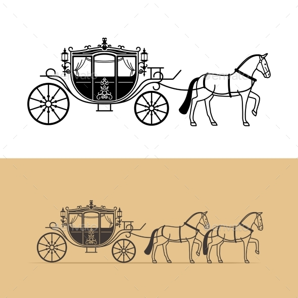 Carriage Silhouette with Horse - Miscellaneous Vectors