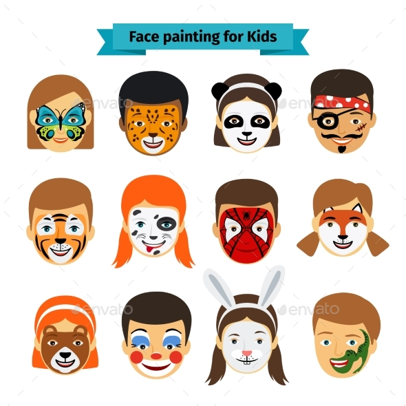 Kids Faces with Painting - People Characters