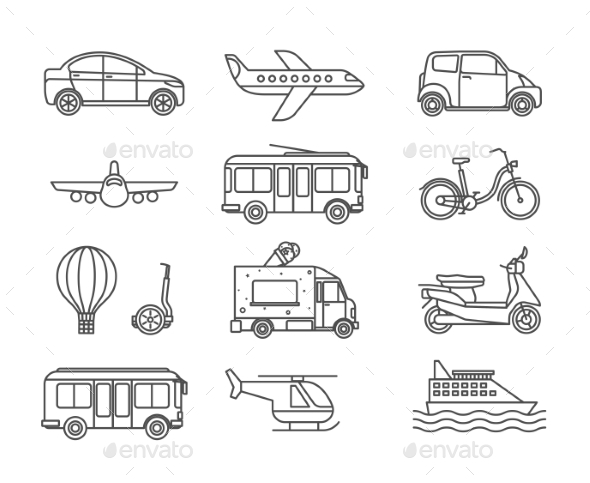 Transport Line Icons - Man-made Objects Objects